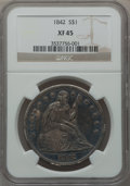 Seated Dollars: , 1842 $1 XF45 NGC. NGC Census: (73/322). PCGS Population (128/296).Mintage: 184,618. Numismedia Wsl. Price for problem free...