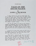 """Autographs:Authors, James A. Michener (1907-1998), American Novelist, Typed Quote Signed """"James A. Michener"""". One page, 8.5"""" x 11"""", a brief ..."""
