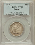 Seated Quarters: , 1873-S 25C Arrows VF35 PCGS. PCGS Population (6/40). NGC Census:(1/43). Mintage: 156,000. Numismedia Wsl. Price for proble...