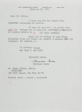 """Autographs:Authors, Marianne Moore (1887-1972), American Modernist Poet, Typed Letter Signed """"Marianne Moore"""". One page, 6"""" x 8.25"""", on her ..."""