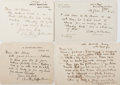 """Autographs:Authors, Anthony Hope Hawkins (1863-1933), English Novelist and Playwright,Collection of Autograph Letters Signed """"Anthony Hope Ha..."""