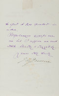 """Autographs:Authors, Jerome K. Jerome (1859-1927) English Writer, Letter Signed """"J. K. Jerome"""". Two pages, 3.75"""" x 6"""", on his personal letter..."""