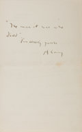 "Autographs:Authors, Andrew Lang (1844-1912) Poet and Scholar Autograph Letter Signed""A. Lang"". One page, 4.5"" x 7"", on his personal letterh..."
