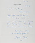 "Autographs:Authors, John Le Carré Autograph Letter Signed ""John le Carré"". Onepage, Cornwall, October 28, 1996, to ""Mr. & Mrs. Levy"".T..."