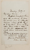 "Autographs:Artists, John Leech (1817-1864) English Caricaturist Autograph Letter Signed ""John Leech"". One page, 4.5"" x 7.5"", July 11, [no ye..."