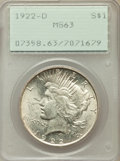 Peace Dollars, (2)1922 $1 MS63 PCGS; 1922-D $1 MS63 PCGS; (3)1923 $1 MS63 PCGS....(Total: 6 coins)