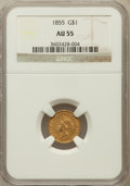 Gold Dollars: , 1855 G$1 AU55 NGC. NGC Census: (915/3517). PCGS Population(532/1704). Mintage: 758,269. Numismedia Wsl. Price for problem ...
