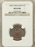 Two Cent Pieces: , 1864 2C Large Motto MS65 Brown NGC. NGC Census: (243/33). PCGSPopulation (51/2). Mintage: 19,847,500. Numismedia Wsl. Pric...