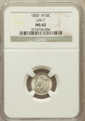 Bust Half Dimes, 1830 H10C V-7, LM-7, R.2 MS62 NGC. NGC Census: (80/263). PCGSPopulation (69/219). Mintage: 1,200,000. Numismedia Wsl. Pric...