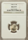 Roosevelt Dimes: , 1946-D 10C MS67 Full Bands NGC. NGC Census: (129/2). PCGSPopulation (78/0). Mintage: 61,043,500. Numismedia Wsl. Pricefor...