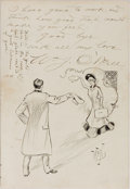 "Autographs:Artists, Early 20th Century Love Letter Illustrated with Fantastic OriginalDrawings. Four pages on integral second page, 5.5"" x 8"", ..."