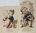 """Books:Americana & American History, [Americana] Pair of 19th Century Hand-Colored Illustrations. Onetitled """"Ladies Shoe Seller"""", the other captioned. Each capt..."""