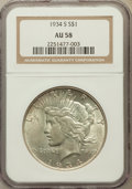 Peace Dollars: , 1934-S $1 AU58 NGC. NGC Census: (376/1160). PCGS Population(387/1949). Mintage: 1,011,000. Numismedia Wsl. Price for probl...