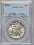 Walking Liberty Half Dollars: , 1934-D 50C MS64 PCGS. PCGS Population (837/619). NGC Census:(566/240). Mintage: 2,361,400. Numismedia Wsl. Price for probl...