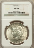 Peace Dollars: , 1934-D $1 MS64 NGC. NGC Census: (767/289). PCGS Population(1262/470). Mintage: 1,569,500. Numismedia Wsl. Price for proble...