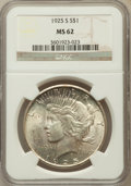 Peace Dollars: , 1925-S $1 MS62 NGC. NGC Census: (730/3277). PCGS Population(1184/4357). Mintage: 1,610,000. Numismedia Wsl. Price for prob...