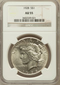 Peace Dollars: , 1928 $1 AU55 NGC. NGC Census: (375/5253). PCGS Population(522/7009). Mintage: 360,649. Numismedia Wsl. Price for problemf...
