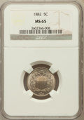 Shield Nickels: , 1882 5C MS65 NGC. NGC Census: (165/52). PCGS Population (180/74).Mintage: 11,476,000. Numismedia Wsl. Price for problem fr...