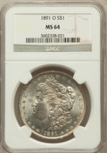 Morgan Dollars: , 1891-O $1 MS64 NGC. NGC Census: (1035/72). PCGS Population(1427/90). Mintage: 7,954,529. Numismedia Wsl. Price for problem...