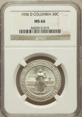 Commemorative Silver: , 1936-D 50C Columbia MS66 NGC. NGC Census: (645/234). PCGSPopulation (569/193). Mintage: 8,009. Numismedia Wsl. Price forp...