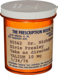 Music Memorabilia:Memorabilia, Elvis Presley-Owned Prescription Bottle (1976)....