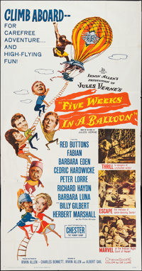 """Five Weeks in a Balloon & Others Lot (20th Century Fox, 1962). Three Sheets (3) (41"""" X 78"""" & 4..."""
