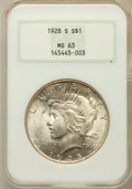 Peace Dollars: , 1928-S $1 MS63 NGC. NGC Census: (1276/1327). PCGS Population(1935/1842). Mintage: 1,632,000. Numismedia Wsl. Price for pro...