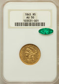Liberty Half Eagles: , 1845 $5 AU50 NGC. CAC. NGC Census: (23/237). PCGS Population(31/98). Mintage: 417,099. Numismedia Wsl. Price for problem f...