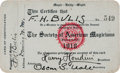 Movie/TV Memorabilia:Autographs and Signed Items, A Harry Houdini Signed Society of American Magicians MembershipCard, 1918....