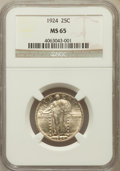 Standing Liberty Quarters: , 1924 25C MS65 NGC. NGC Census: (104/74). PCGS Population (129/33).Mintage: 10,920,000. Numismedia Wsl. Price for problem f...