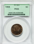 Proof Liberty Nickels: , 1908 5C PR65 PCGS. PCGS Population (106/46). NGC Census: (114/76).Mintage: 1,620. Numismedia Wsl. Price for problem free N...