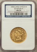 Liberty Eagles, 1850 $10 Large Date AU53 NGC....