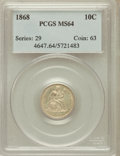 Seated Dimes, 1868 10C MS64 PCGS....