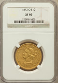 Liberty Eagles, 1842-O $10 XF40 NGC. Variety 2....