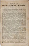"Books:Americana & American History, [Slavery] Pamphlet: ""Reply of Hon. Jefferson Davis, of Mississippi,to the Speech of Senator Douglas, in the U.S. Senate, May ..."