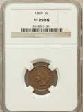 Indian Cents: , 1869 1C VF25 NGC. NGC Census: (21/528). PCGS Population (22/589).Mintage: 6,420,000. Numismedia Wsl. Price for problem fre...
