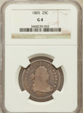 Early Quarters: , 1805 25C Good 4 NGC. NGC Census: (18/232). PCGS Population(40/444). Mintage: 121,394. Numismedia Wsl. Price for problem fr...