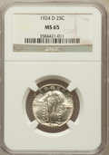 Standing Liberty Quarters: , 1924-D 25C MS65 NGC. NGC Census: (431/287). PCGS Population(498/98). Mintage: 3,112,000. Numismedia Wsl. Price for problem...