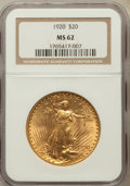 Saint-Gaudens Double Eagles: , 1920 $20 MS62 NGC. NGC Census: (3131/1844). PCGS Population(2072/2802). Mintage: 228,250. Numismedia Wsl. Price for proble...
