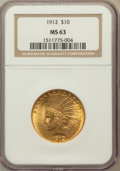 Indian Eagles: , 1912 $10 MS63 NGC. NGC Census: (945/448). PCGS Population(918/281). Mintage: 405,083. Numismedia Wsl. Price for problemfr...