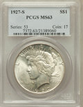 Peace Dollars: , 1927-S $1 MS63 PCGS. PCGS Population (1827/1437). NGC Census:(988/1136). Mintage: 866,000. Numismedia Wsl. Price for probl...