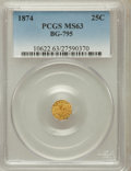 California Fractional Gold: , 1874 25C Indian Octagonal 25 Cents, BG-795, R.3, MS63 PCGS. PCGSPopulation (49/89). NGC Census: (7/6). ...