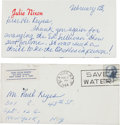 Music Memorabilia:Documents, Julie Nixon Signed and Handwritten Letter Related to the Beatles,1964....