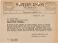 Movie/TV Memorabilia:Documents, A Marilyn Monroe-Referenced Telegram to George Raft, 1958....