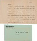 Movie/TV Memorabilia:Documents, A Frank Sinatra-Related Phone Message, 1963.... (Total: 2 Items)