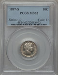 Barber Dimes: , 1897-S 10C MS62 PCGS. PCGS Population (12/71). NGC Census: (4/36).Mintage: 1,342,844. Numismedia Wsl. Price for problem fr...