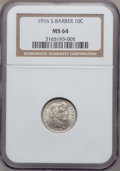 Barber Dimes: , 1916-S 10C MS64 NGC. NGC Census: (66/62). PCGS Population (88/42).Mintage: 5,820,000. Numismedia Wsl. Price for problem fr...
