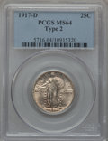 Standing Liberty Quarters: , 1917-D 25C Type Two MS64 PCGS. PCGS Population (142/64). NGCCensus: (97/57). Mintage: 6,224,400. Numismedia Wsl. Price for...