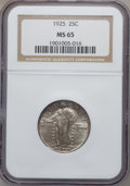 Standing Liberty Quarters: , 1925 25C MS65 NGC. NGC Census: (72/14). PCGS Population (134/19).Mintage: 12,280,000. Numismedia Wsl. Price for problem fr...