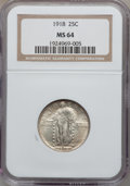Standing Liberty Quarters: , 1918 25C MS64 NGC. NGC Census: (122/93). PCGS Population (142/93).Mintage: 14,240,000. Numismedia Wsl. Price for problem f...